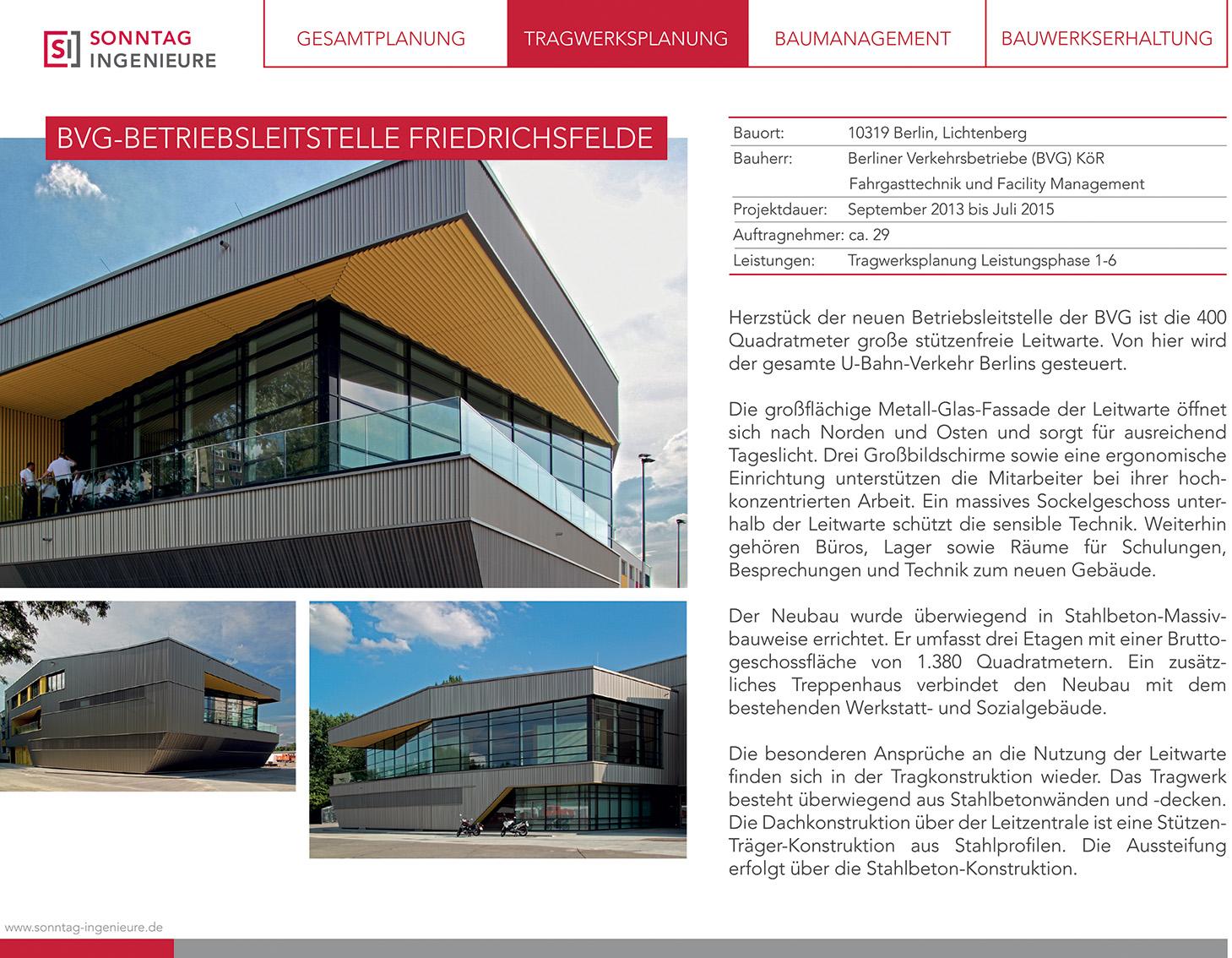 Infodatenblatt zum Bauprojekt BVG-Betriebsleitstelle Friedrichsfelde