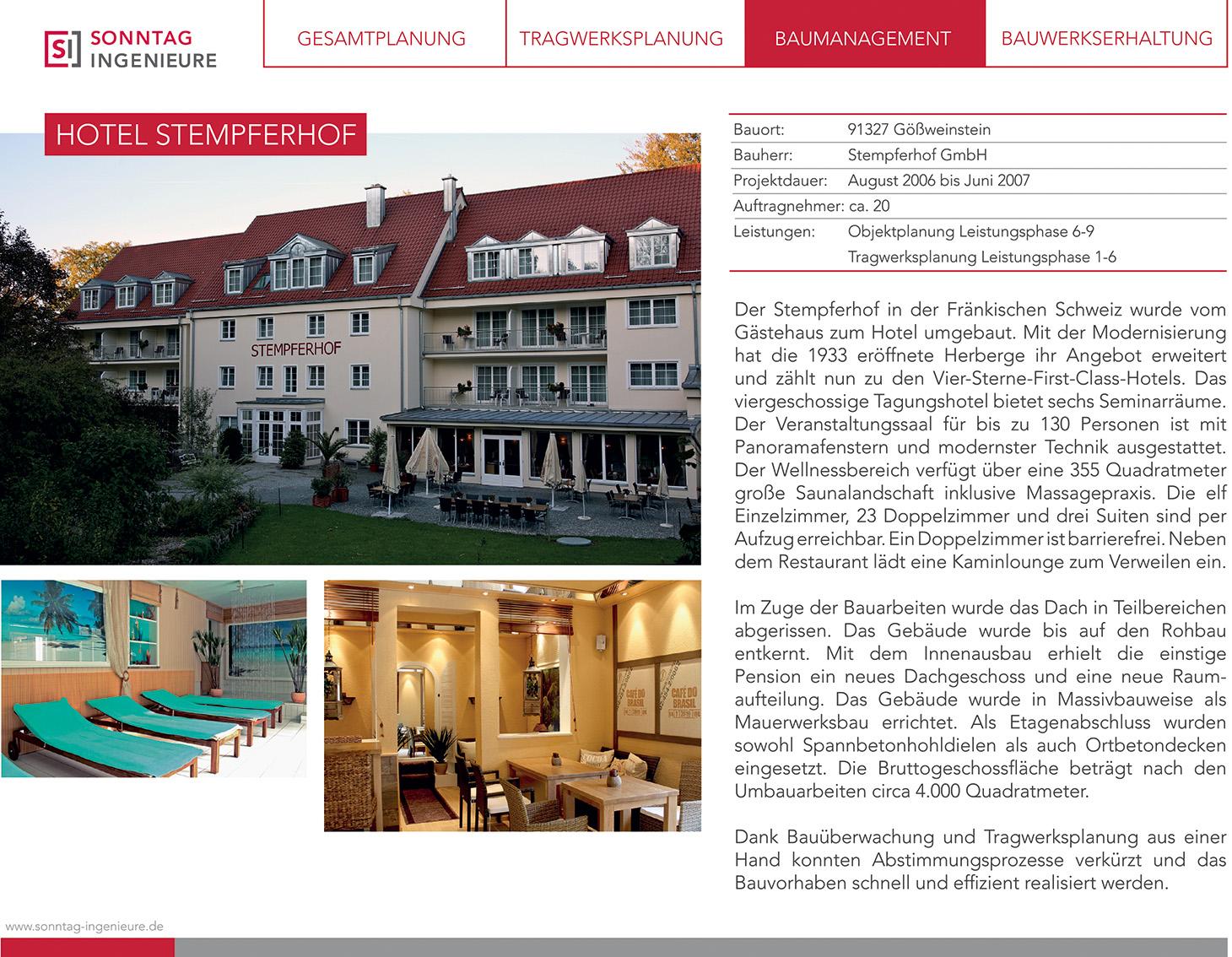 Infodatenblatt zum Bauprojekt Hotel Stempferhof