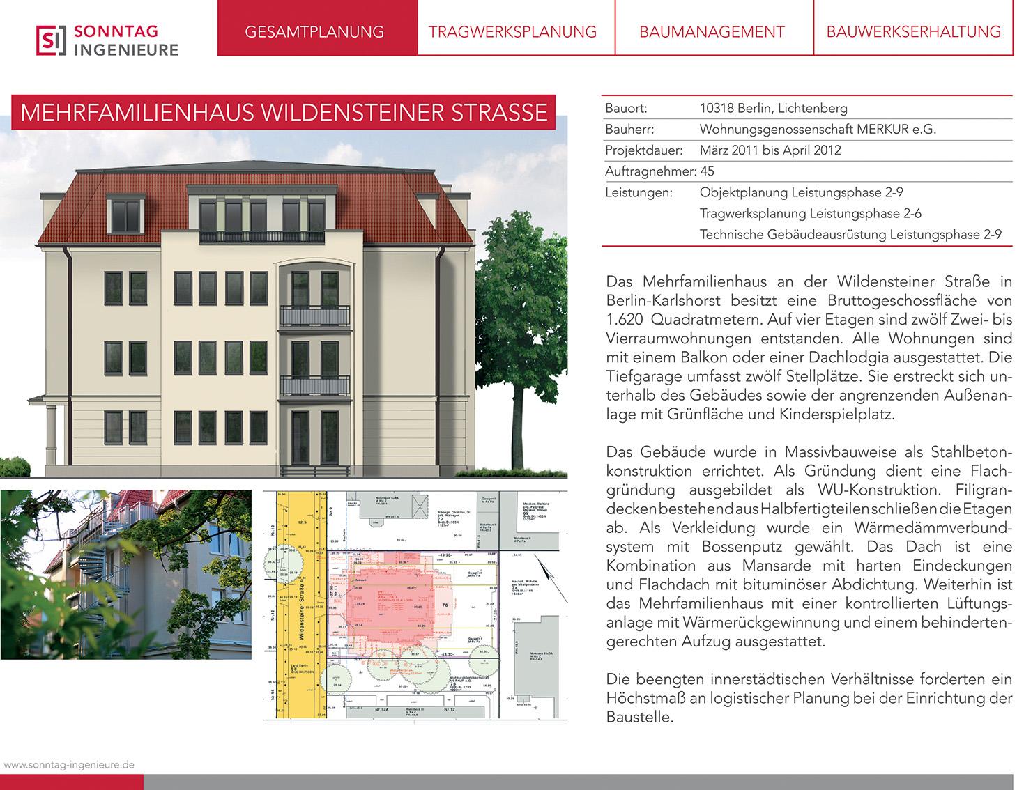 Infodatenblatt zum Bauprojekt Wildensteiner Straße