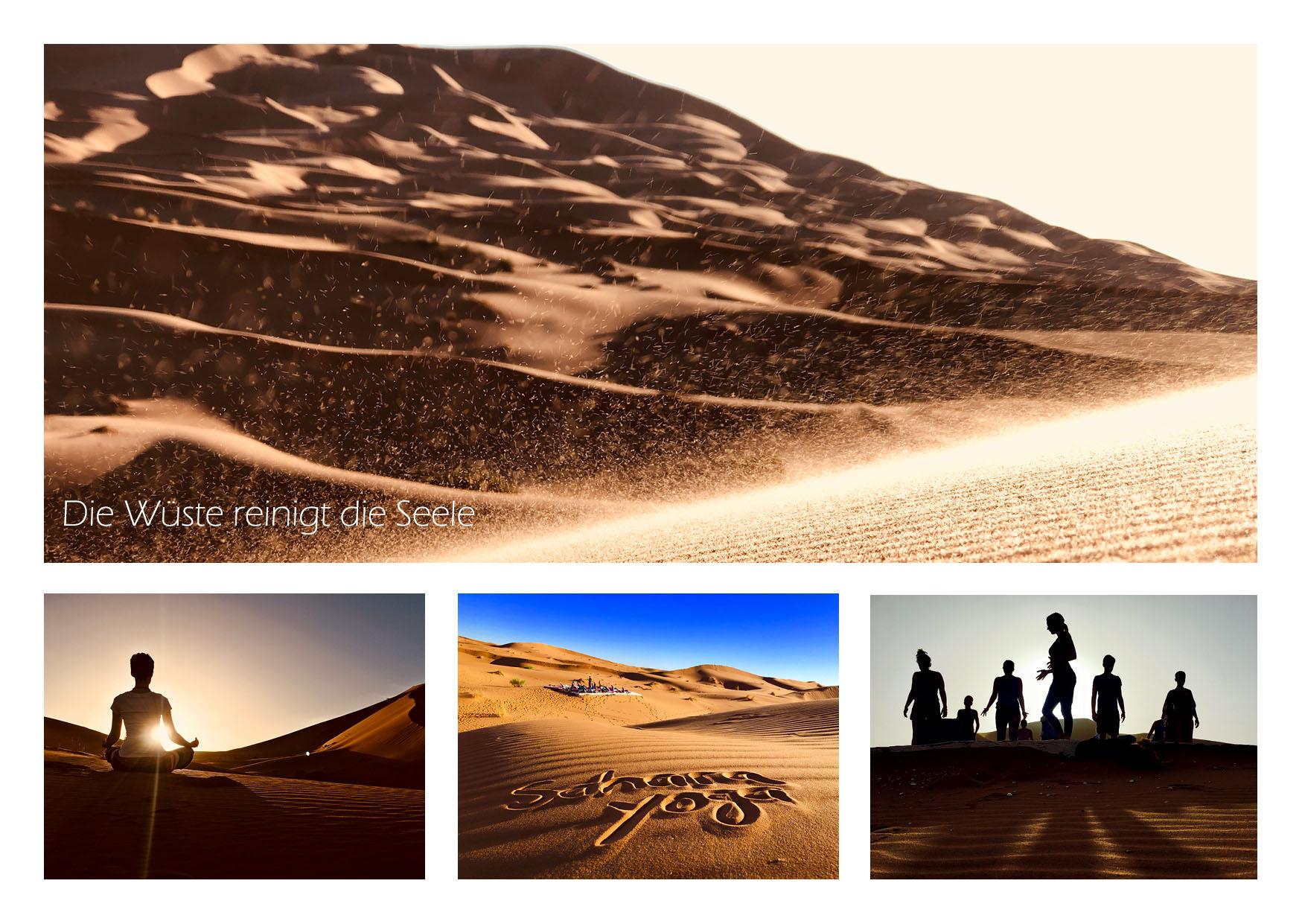 Sahara Yoga Postkarte Wueste