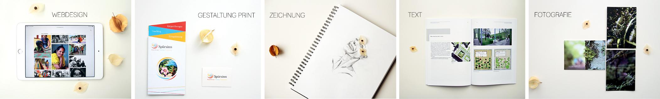 Mein Portfolio in Bildern: Tablet - Webdesign, Flyer und Visitenkarte - Gestaltung Print, Bleistiftporträt - Zeichnung, Strategie, Magazin/Katalog - Textarbeit, Naturbilder als Postkarten - Fotografie